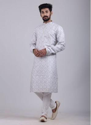 Printed Kurta Pajama In Light Grey Color