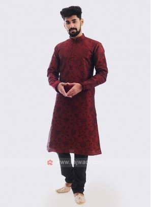 Printed Kurta Pajama In Maroon