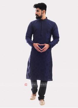 Printed Kurta Pajama In Navy Blue