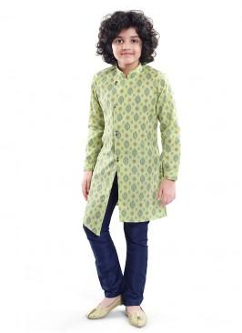 Printed Kurta Pajama In Parrot Green