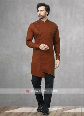 Printed Kurta Pajama In Rust