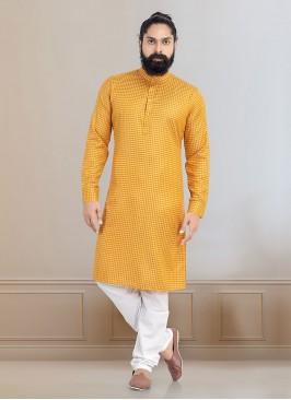 Printed Kurta Pajama In Yellow Color