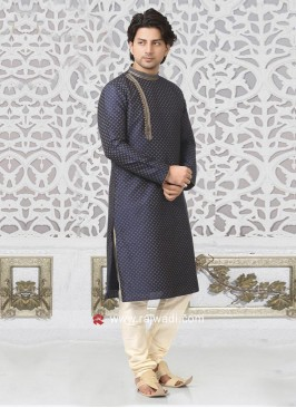 Round Neck Kurta With Off White Bottom