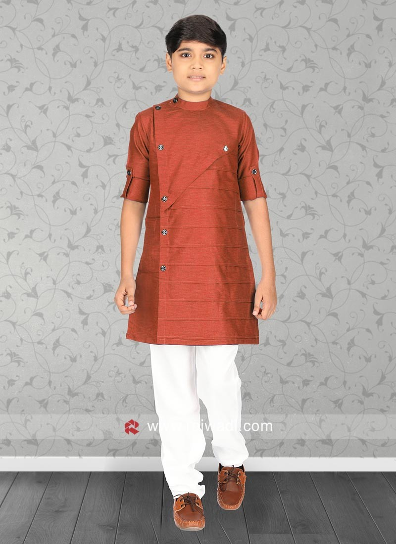 Dark Orange Color Kurta Set
