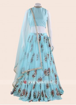 Printed Lehenga Choli in Sky Blue