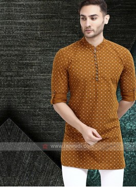 printed light brown color kurta