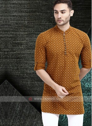printed light brown color kurta