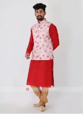 Printed Light Pink Color Nehru Jacket Set