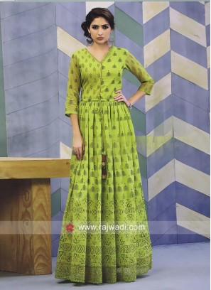 Printed Long Cotton Silk Kurti