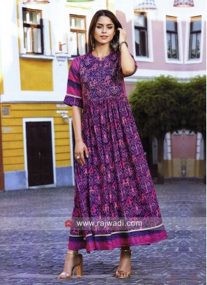 Dressline Printed Long Semi Anarkali Kurti