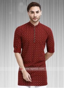 printed maroon color kurta
