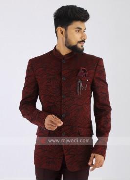 Printed Maroon Jodhpuri Suit