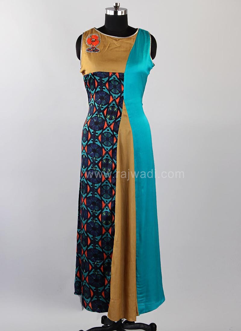 Printed Multicolored Slit Kurti