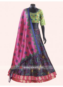 Printed Navratri Chaniya Choli in Multi Color