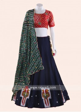 Printed Navy Blue and Red Chaniya Choli for Garba