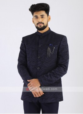 Printed Navy Jodhpuri Suit