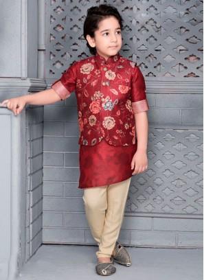 Flower Printed Nehru Jacket For Boys