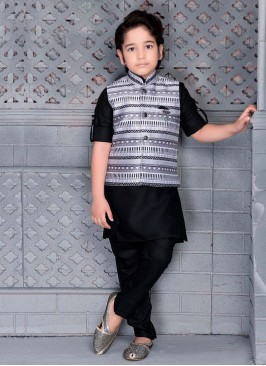 Printed Nehru Jacket Set For Boys