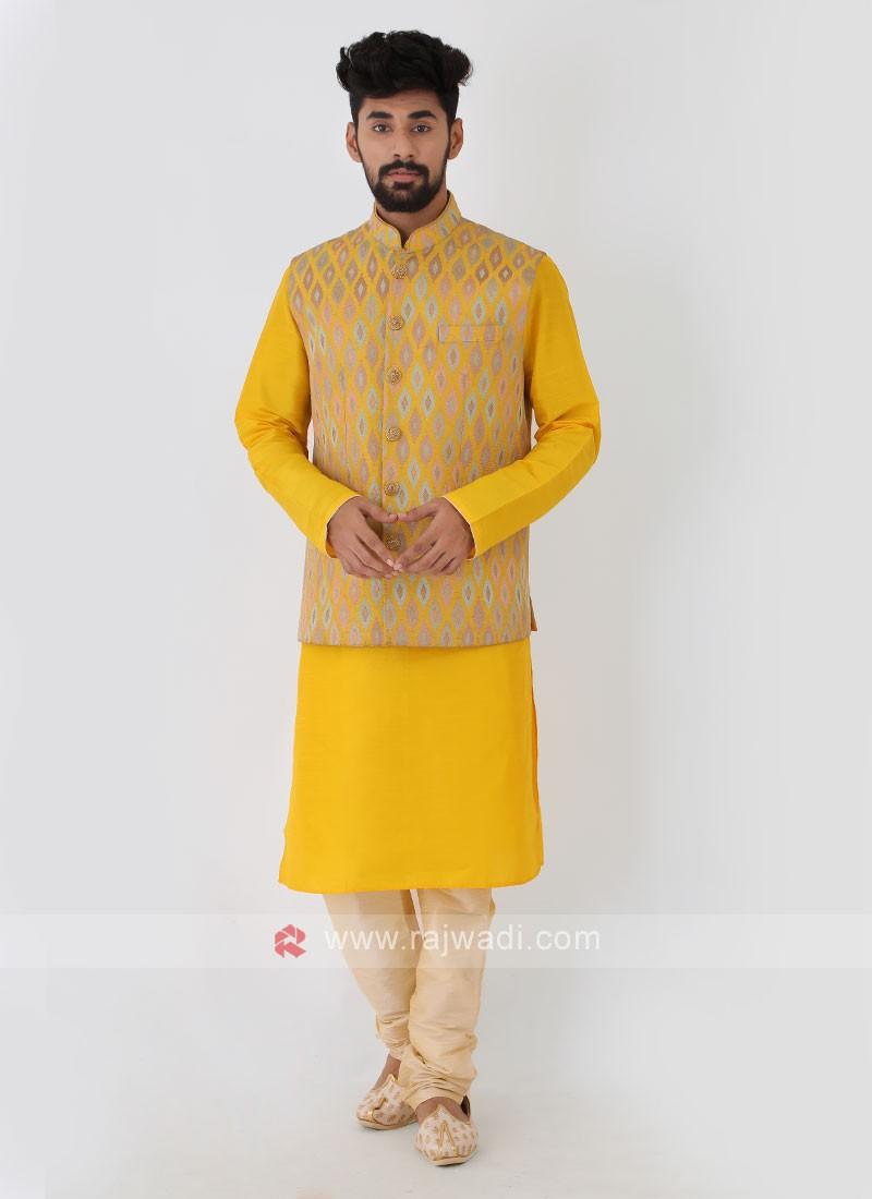 Printed Nehru Jacket Set In Yellow