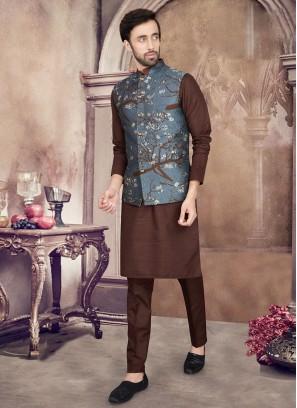 Printed Nehru Jacket Suit