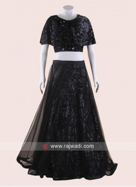 Printed Net Black Lehenga and Poncho Choli