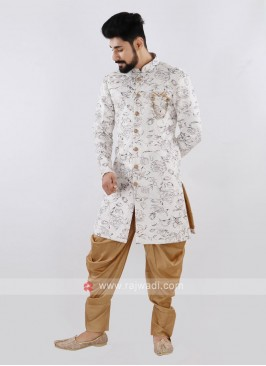 Printed Off White And Golden Indo Western