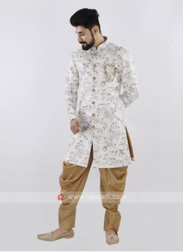 Printed Off White And Golden Patiala Suit