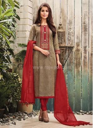 Printed Office Wear Cotton Silk Churidar Suit