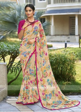 Printed Office Wear Saree with Blouse