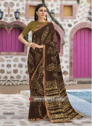 Printed Party Wear Saree with Border