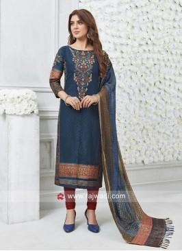 Printed Peacock Blue Salwar Kameez