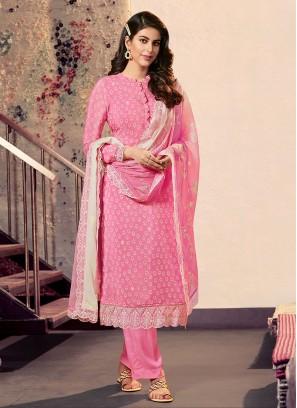 Printed Pink Color Dress Material