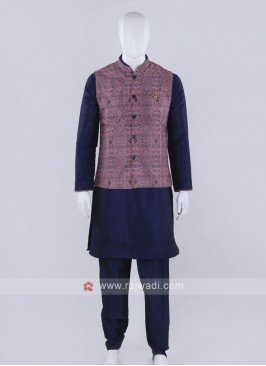 Printed pink color nehru jacket