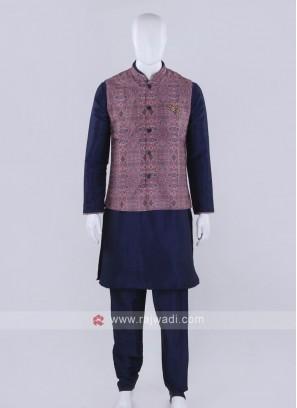 Printed pink color nehru jacket