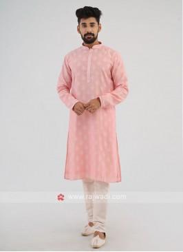 Printed Pink Kurta Pajama In Silk