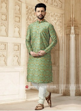 Printed Pista Green Kurta Set