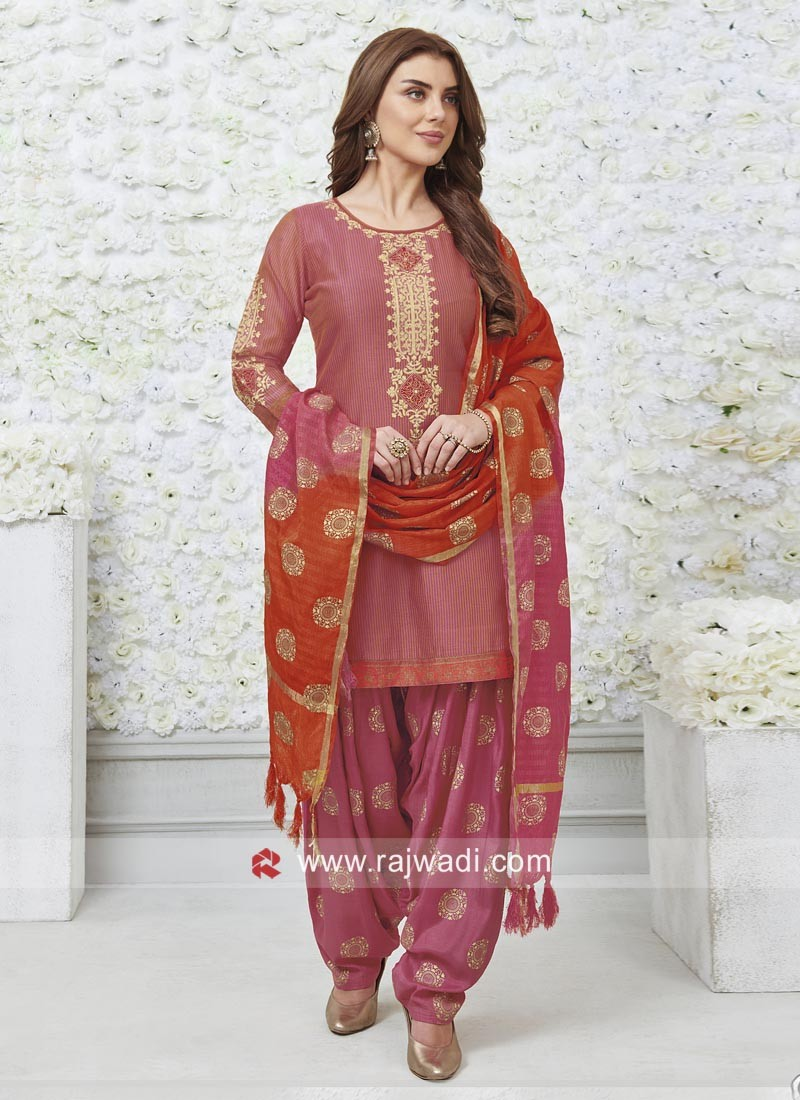 Printed Plastic Mirror Work Patiala Suit