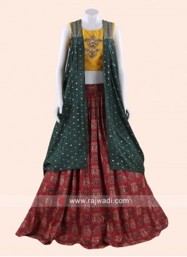 Printed Raw Silk Choli Suit with Koti