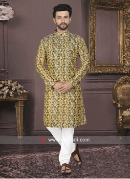 Printed Raw Silk Kurta Set