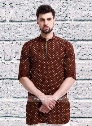 printed rust color kurta