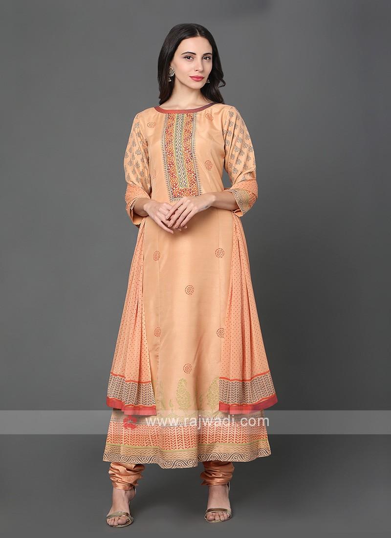Printed Salwar Kameez In Orange