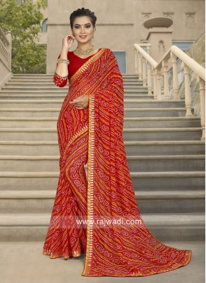 Printed Saree in Red