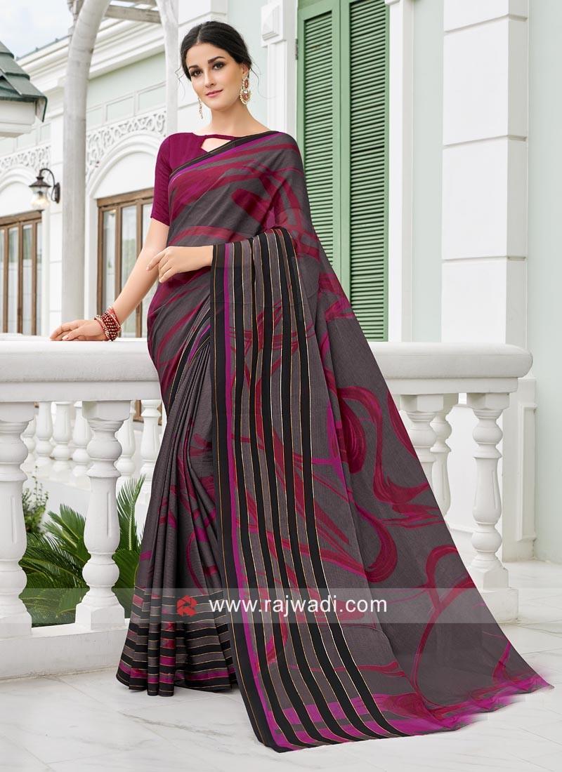 Printed Saree with Plain Blouse