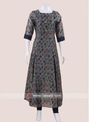 Printed Semi Anarkali Cotton Silk Kurti