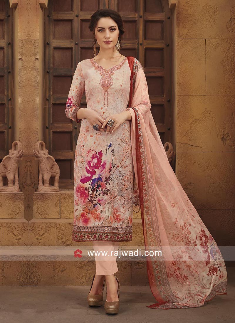 Printed Semi Stitched Salwar Suit in Light Pink