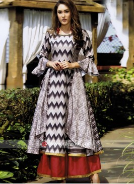 Printed Silk Double Layer Kurti