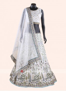 Printed Silk Lehenga Set in Off White