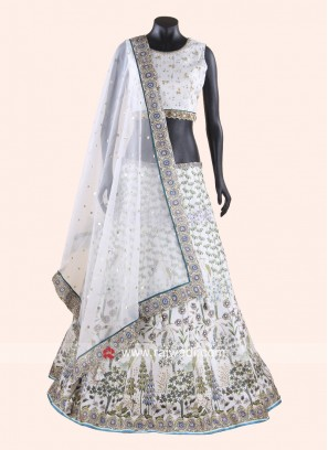 Printed Silk Lehenga Set in Off White