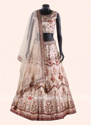 Printed Silk Lenga Choli in Cream