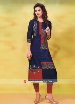 Printed Silk Straight Fit Kurti